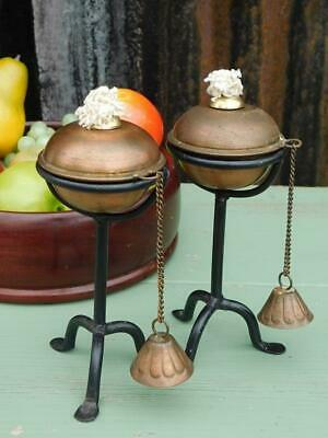 Pair Of Vintage Arts & Crafts Styled Copper & Iron Candlesticks Burners 2