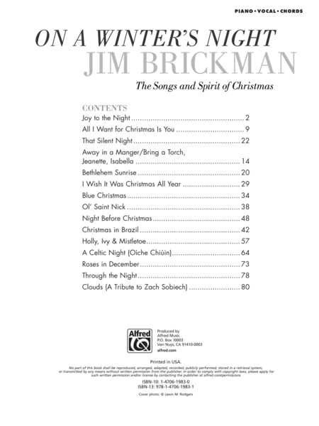 All I Want For Christmas Is You Chords.Jim Brickman On A Winter S Night Piano Vocal Chords Music Book New Songbook Sale