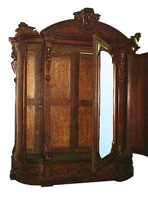 Antique Victorian Armoire with Beveled Mirror #5074 2