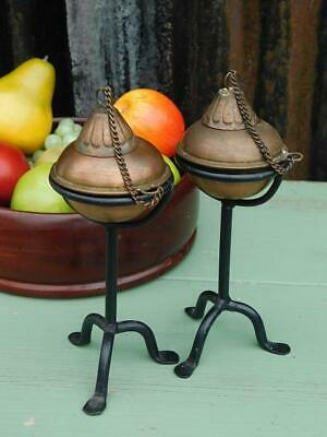 Pair Of Vintage Arts & Crafts Styled Copper & Iron Candlesticks Burners 3