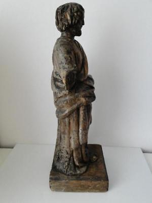 Escultura de Madera 17º Saint Sculpte 17º con Drape Estatuilla Religiosa G68 9
