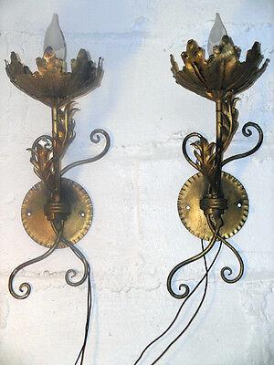 Pair of Vintage Gilt Metal Sconces