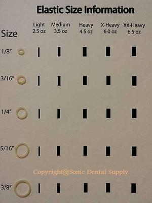 """CLEAR - 3/16"""" HEAVY 4.5 oz  - ORTHODONTIC ELASTIC - BRACES - DENTAL RUBBER BANDS 2"""