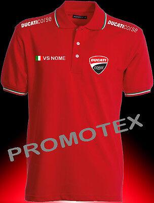 2 di 5 maglia polo unisex DUCATI CORSE cotone bordi tricolore italia racing  maglietta 0af386621775d