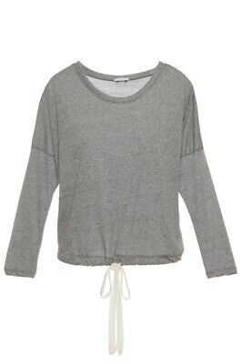 EBERJEY Heather Gray Slouchy Tee loungewear top long sleeve drawstring 5