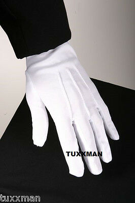 Mens Grey Tuxedo Gloves Nylon Formal Uniform Color Guard Marching band TUXXMAN