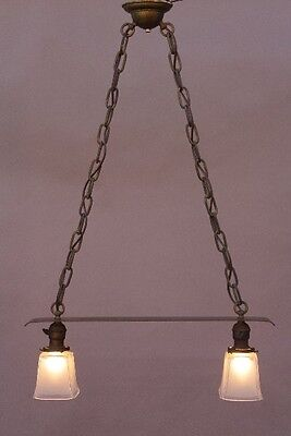Early 20th Century Copper 2 Light Chandelier Antique Arts & Crafts (9759) 4