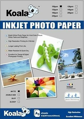 A3 Matte (single side) Inkjet Paper 108gsm x100, poster,signage,draft copy, Matt
