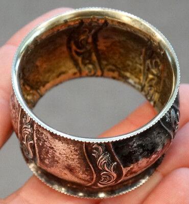 RUSSIAN Hallmarks ? STERLING SILVER Antique NAPKIN RING w/ GOLD VERMEIL WASH 4