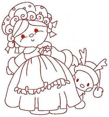 "Redwork Ms Santa /& Rudolph 10 Machine Embroidery Designs CD in 3 sz 4/"" 7/"" 10/"""