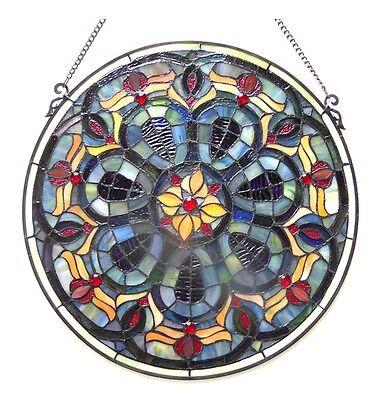 "20"" Diamerter Round Victorian Design Stained Glass Window Panel Suncatcher 2"