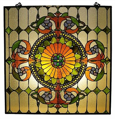 THREE Matching Stained Cut Glass Window Panels Tiffany Style   Great Colors! 2