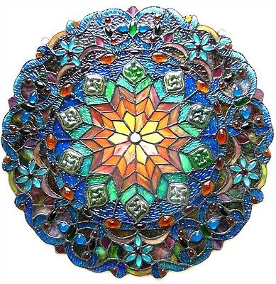 """Very Colorful Handcrafted 21"""" Round Tiffany Style Stained Glass Window Panel 2"""