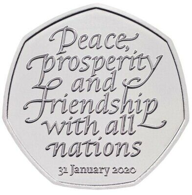 BREXIT 50p Pence january 2020  Peace, Prosperity & Friendship all Nations 2
