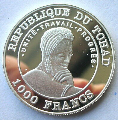 Chad 2002 Hippo 1000 Francs Silver Coin,Proof 2