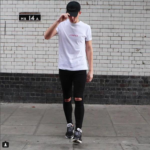 Mens Boys Skinny Jeans Ripped Slim fit Stretch Denim Distress Biker Jeans Black 2