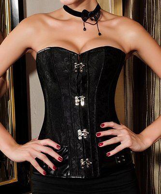 Corset Bustier Serre-Taille Noir Steampunk Gothique Baroque Vintage + String 2