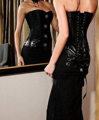 Corset Bustier Serre-Taille Noir Steampunk Gothique Baroque Vintage + String 3