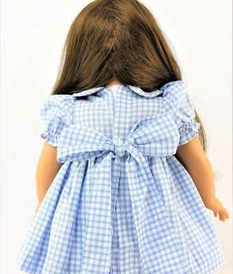 """Smocked Spring Dress Blue Checks Flowers for American Girl 15 - 18"""" Doll Clothes 3"""