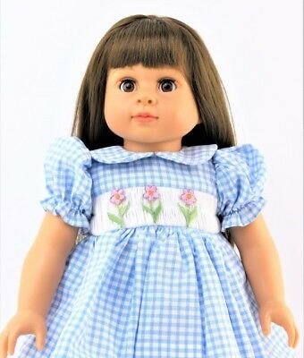 """Smocked Spring Dress Blue Checks Flowers for American Girl 15 - 18"""" Doll Clothes 2"""