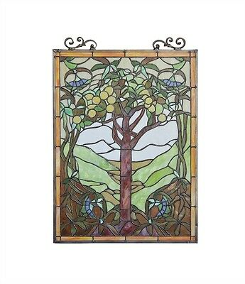 "Tree of Life Tiffany Style Stained Glass Window Panel 18"" W x 25"" T Handcrafted 2"