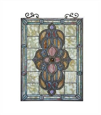 LAST ONE THIS PRICE  Medallion Tiffany Style Stained Glass Window Panel 18 x 25 2