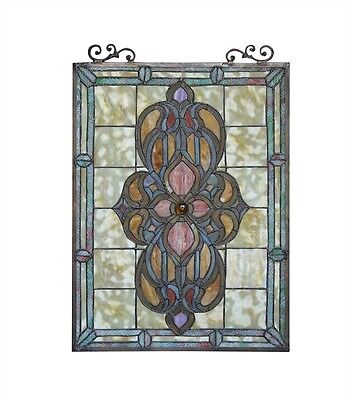 """Victorian Medallion Design Tiffany Style Stained Glass Window Panel 18"""" x 25"""" 2"""