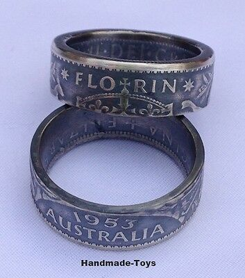 Australian Florin Silver Handmade to Coin Ring - Antique Finished