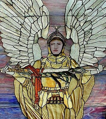 Stained Glass Window, Angel with Sword, attrib. Tiffany #5753 2