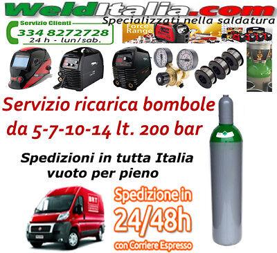 Bombola Miscela Argon Co2 Da 5-7-10-14-27-50 Lt Saldatrice Filo 200 Bar Ee Piena 5