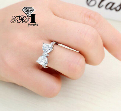 Fashion 925 silver Filled White Sapphire Birthstone Wedding Princesses Band Ring 5