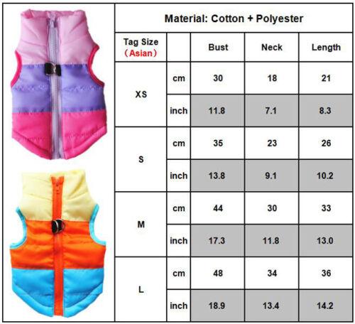 Dog Pet Warm Insulated Padded Coat Winter Puffer Jacket Zip Shirt Clothes XS-5XL
