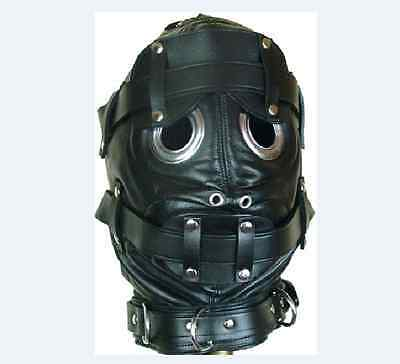 Lockable Leder Gimp Bandage Hood Sensory Deprivation Mouth Maske Mask Blindfold 2