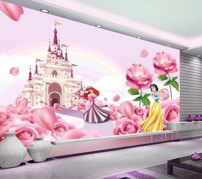 3d Disney Princess Castle Wallpaper Princess Ariel Snow White Wall