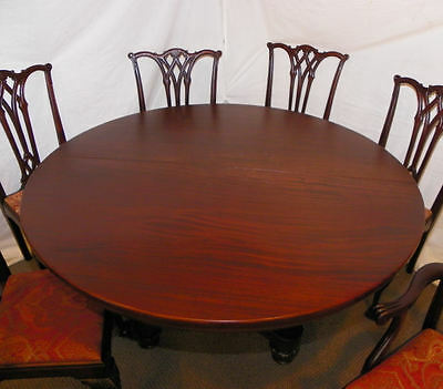 9 PC MATCHING Antique Mahogany Dining Room Set - Table Curio ...