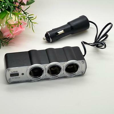 3 Way DC 12V Multi Socket Car Cigarette Lighter Splitter USB Charger Adapter 1X