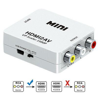 RCA to HDMI Adapter Converter Video Audio Composite AV 720p 1080p Upscaler CVBS 2