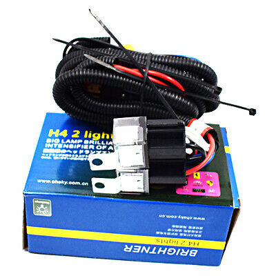 CERAMIC H4 HEADLIGHT Relay Wiring Harness 2 Headlamp Bulb ... on