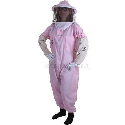 Buzz Basic Beekeeping Bee Suit (Pink) With Round and Fencing Veil And Gloves 3