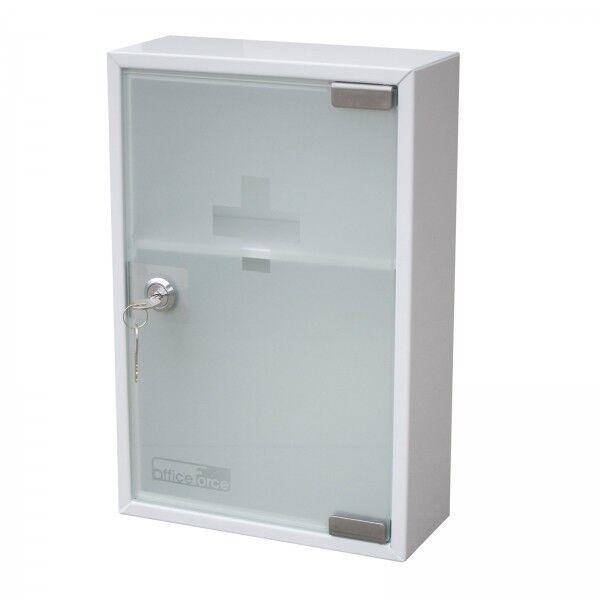OfficeForce Medizinschrank mit Glastür Metall Erste Hilfe Schrank Hausapotheke 2