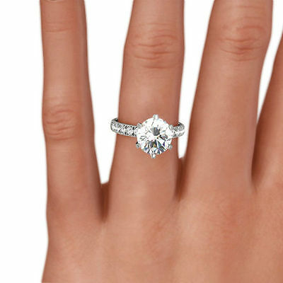 ... 3 1 2 Carat Diamond Ring Round F Si1 Solitaire Accented 14 K White Gold 6b9f445f4a91