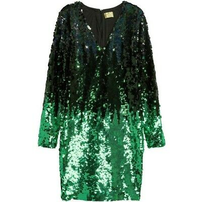 promo code 56212 bb243 H&M ABITO VESTITO verde limited green sequin paillettes Party dress EU 40
