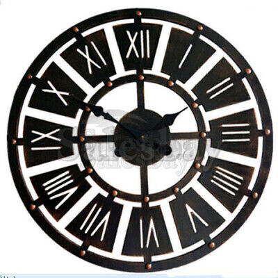 Large Metal and Wooden Industrial French Provincial Antique Round Wall Clock 7