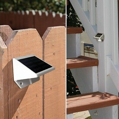 4 LED Solar Powered Stairs Fence Garden Security Lamp Outdoor Waterproof Light 8