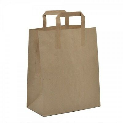 Brown or White Kraft Paper SOS Flat Handle Party Paper Bags Takeaway Loot Gifts 2