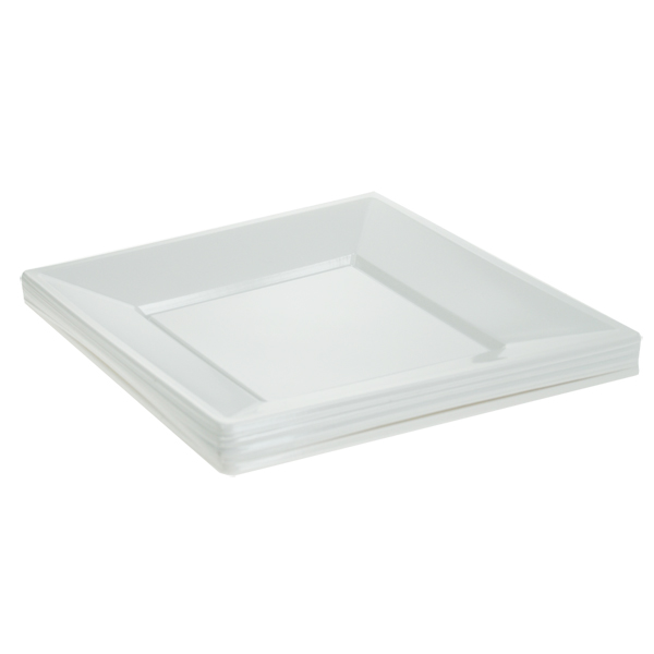 White Disposable Plastic Square Serving Bowls 15cm 28cm Party Event BBQ Buffet