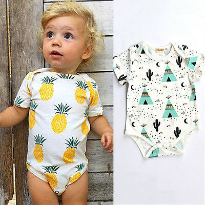 Cotton Newborn Infant Baby Boy Girls Bodysuit Romper Jumpsuit Clothes Outfits 11