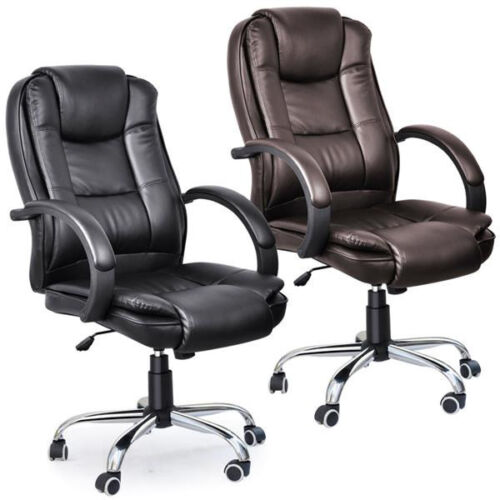 Swivel Executive Office Computer Chair Premium PU Leather Metal Base Footrest 2
