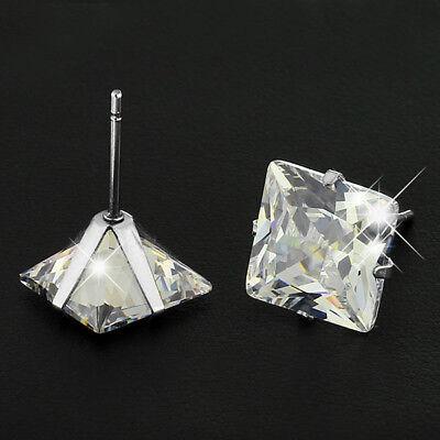 Surgical 316L Stainless Steel Stud Earrings Cubic Zircon Square Men Women 2PC 2