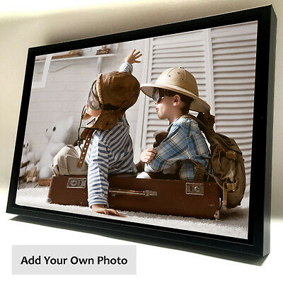 Personalised Photo on Canvas Print with Wooden Floating Frame A1 A2 A3 A4 5